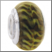 Geniune Designer Murano Glass Bead - Tiger - Black & Kiwi