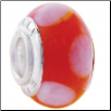 Geniune Designer Murano Glass Bead - Red with Polka Dots