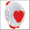 Geniune Designer Murano Glass Bead - White with Red Hearts