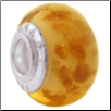 Geniune Designer Murano Glass Bead - Goldstone - Peach with Rosegold