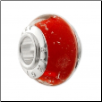 Geniune Designer Murano Glass Bead - Silver Sparkle - Apple Red - NEW