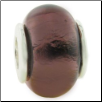 Glass Birthstone Bead with Silver Core - February - Amethyst