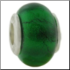 Glass Birthstone Bead with Silver Core - May - Emerald