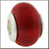Glass Birthstone Bead with Silver Core - July - Ruby