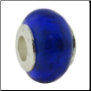 Glass Birthstone Bead with Silver Core - September - Sapphire