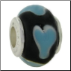 Glass Beads with Silver Core - Black with Lt Blue Hearts