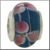 Glass Beads with Silver Core - Dk Blue with Pink Flowers & Swirls