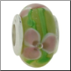 Glass Beads with Silver Core - Yellow with Pink Flowers and Swirls