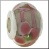 Glass Beads with Silver Core - Pink with Pink Flowers & Swirls