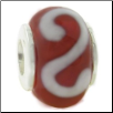"Glass Beads with Silver Core - Red with White ""S"""