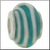 Glass Beads with Silver Core - Aqua with White Spiral