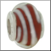 Glass Beads with Silver Core - Red with White Spiral