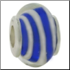 Glass Beads with Silver Core - Dk Blue with White Spiral