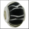 Glass Beads with Silver Core - Black with Stripes