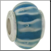 Glass Beads with Silver Core - Lt. Blue with Stripes