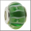 Glass Beads with Silver Core - Lt Green with Stripes