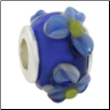 Glass Beads with Silver Core - Blue with 3D Blue Flowers