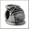 CZ Silver Bead - Baby Shoe Girl - Pink