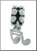 Dangle Beaded Silver - Music Note