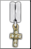 Dangle Smooth - 14K Solid Gold - CZ Cross