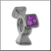Silver CZ Spinner Wheel - Diamond Purple