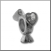 Silver CZ Spinner Wheel - Heart Clear