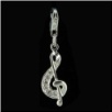 Silver CZ Charm - Music Note - clear CZ