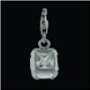 Silver  CZ Pendant Select Charm - Square with clear CZ - NEW