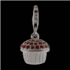 Silver  CZ Pendant Select Charm - Cupcake with red CZ - NEW