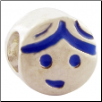 Enamel Bead - Boy Face - Blue