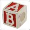 Enamel Bead - ABC Block - Red