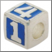 Enamel Bead - 123 Block - Blue