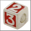 Enamel Bead - 123 Block - Red
