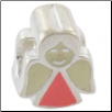 Enamel Bead - Angel - Light Pink/White