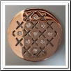 Coin C-06 - Cross Hatch With CZ - Rose Gold