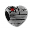 CZ Silver Bead - Us Heart Big CZ - Red