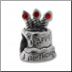 CZ Silver Bead - Birthday Cake - Red - New