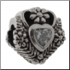 CZ Select Bead - Heart with Vines - Clear