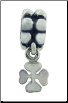 Dangle Beaded Silver - 4 Leaf Clover