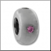 Silver CZ Spacer - Plain Ring Pink