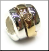 Two Tone CZ Symbols - 3 Micron  Plated Gold & 925 Silver with CZ - Deco -  Gold  & Silver Twist