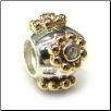 Two Tone CZ Symbols - 3 Micron  Plated Gold & 925 Silver with CZ - Silver Ball with Gold CZ Flowers