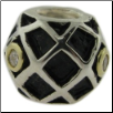 Two Tone CZ Selects 10K Solid Gold & 925 Silver Bead - Ball with Diamond Pattern