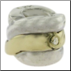 Two Tone CZ Selects 10K Solid Gold & 925 Silver Bead - Deco. - Silver Gold Twist