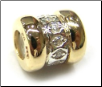 Two Tone CZ Selects 10K Solid Gold & 925 Silver Bead - 2 Gold Bands 1 CZ Band