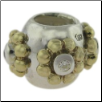 Two Tone CZ Selects 10K Solid Gold & 925 Silver Bead - Silver Ball with  Gold Flower
