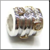 Two Tone CZ Selects 10K Solid Gold & 925 Silver Bead - 4 Rings with 5 Gold CZ Sq.